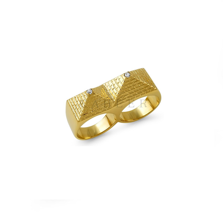 CR1707012 High Quality Rings Pyramid Shaped Two Finger Ring