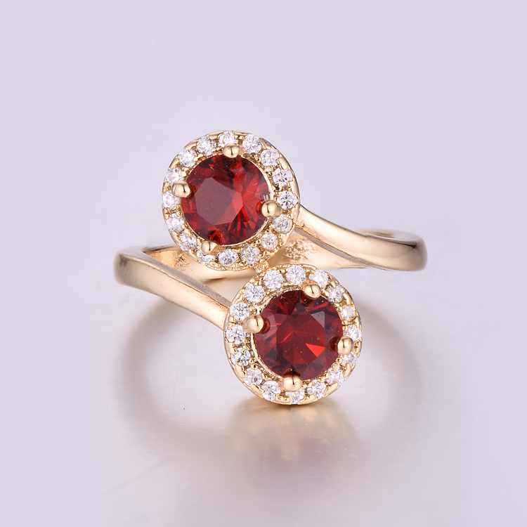 CR1707480 Top Quality Ruby Wedding Finger Rings Two Stone Ring