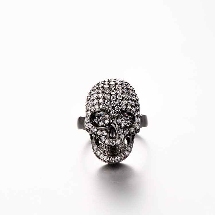 CR1507140 Skulls Pattern Wedding Silver Diamond Wedding Ring